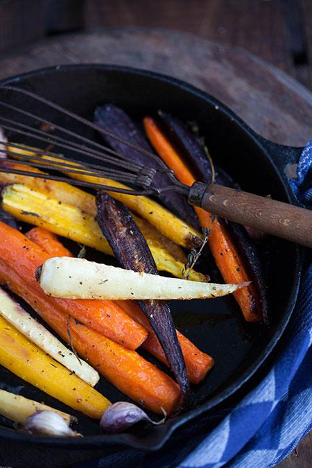Zanahorias y pastinaca al horno con miel