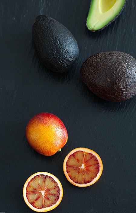 Ensalada de naranja sanguina y aguacate