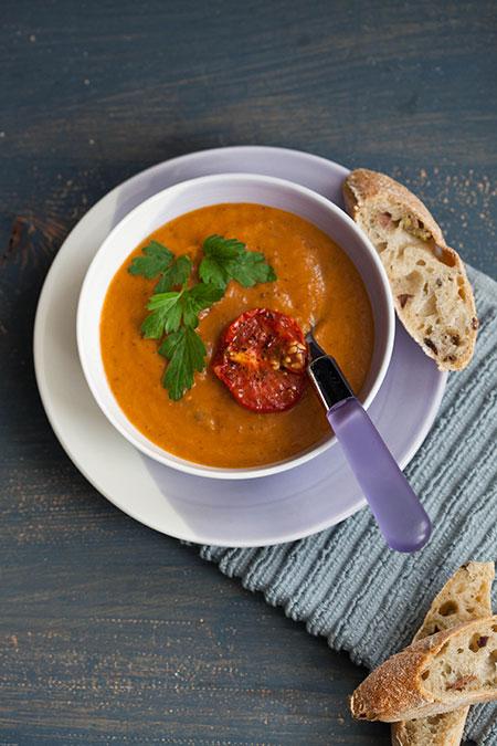 Sopa de berenjenas y tomatitos asados (soep van geroosterde aubergines en tomaten)