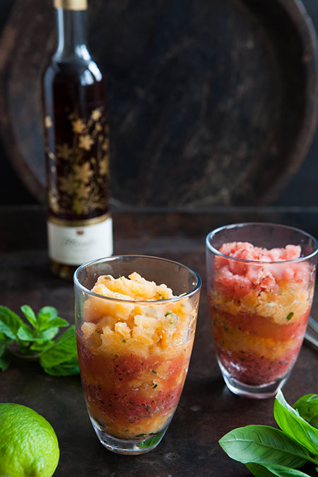 Granizado de melon y sandiá (cantaloupe- en watermeloen ijs)