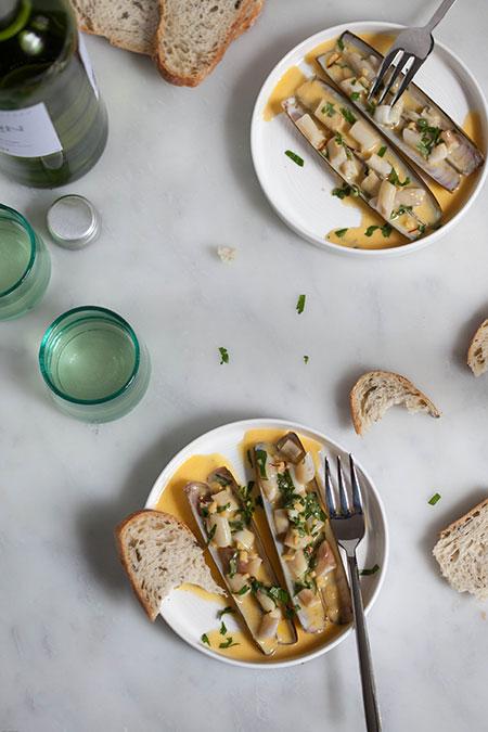 Navajas en salsa de azafrán (scheermessen met safraansaus)