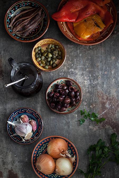 Ensalada de pimientos al jerez (paprikasalade met een sherry dressing)