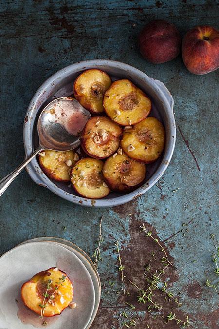 Melocotón al horno con tomillo y jengibre (perziken uit de oven met tijm en gember)