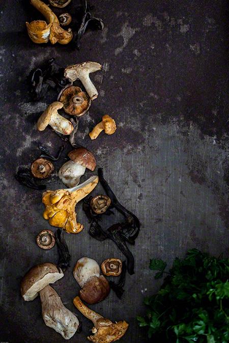 Tarteletas con setas silvestres (taartjes met wilde paddenstoelen)