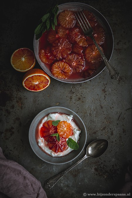 Bloedsinaasappelen in karamel