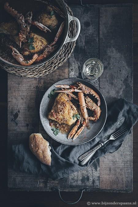 Kip met langoustines