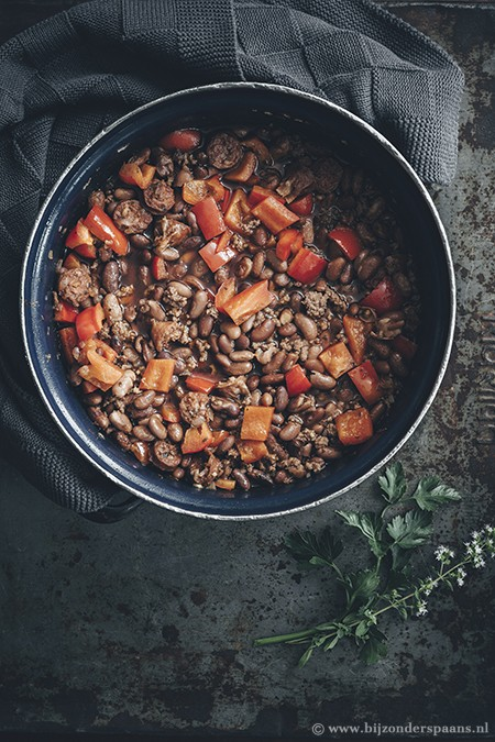 Chili con carne met chorizo en gerookte paprikapoeder